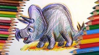 Как нарисовать ДИНОЗАВРА цветными карандашами поэтапно / Урок рисования для детей