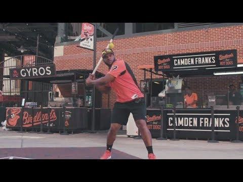 Baltimore Orioles Sluggers Play Stickball At Camden Yards