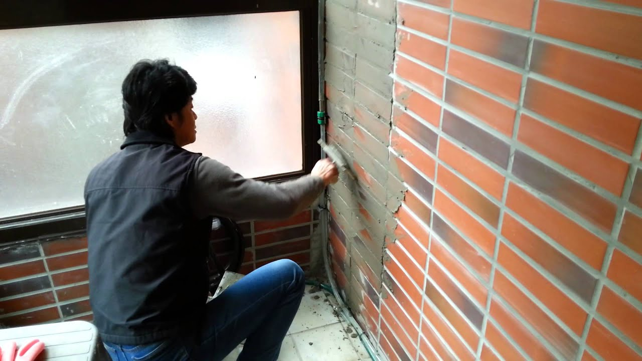 Cement filling and Trim for wall tiles ( GROUTING ) - YouTube
