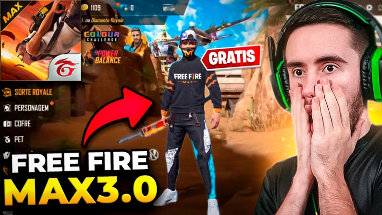 CORRE!! BAIXE AGORA O FREE FIRE MAX 3.0 E GANHE A GOLA ALTA PRETA GRÁTIS!!