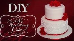DIY RED ROSE WEDDING CAKE || Janie's Sweets