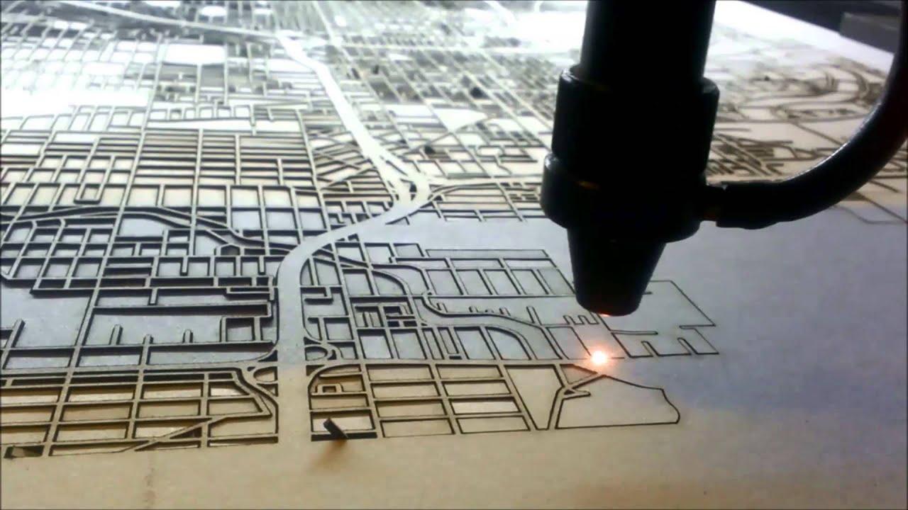 Laser Cut Street Map By Cutmaps Youtube