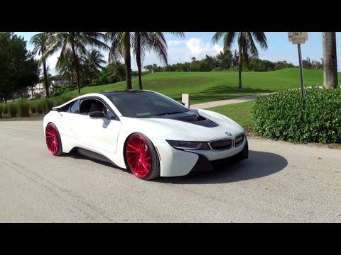 Bmw I8 Hybrid Supercar On Vossen Wheels Drive Acceleration Miami