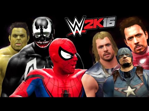 SPIDERMAN VS VENOM VS HULK VS CAPTAIN AMERICA VS IRONMAN VS THOR - WWE 2K16