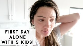 FIRST DAY ALONE WITH MY 5 KIDS!!! LIFE ADJUSTING TO TWIN GIRLS!