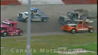 Big Rig Truck Racing with wreck, June 2004 - Calgary AB