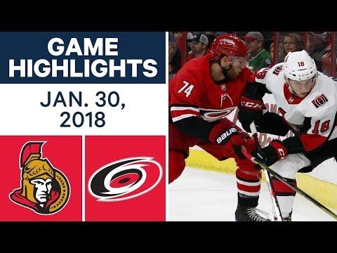 NHL Game Highlights | Senators vs. Hurricanes - Jan. 30, 2018