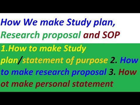 How To Make Study Plan Research Proposal And Statement Of Purpose For Scholarship || 2