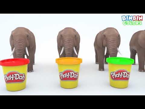 Belajar Warna Dengan Telur Kejutan Gajah Dan Hewan Transporter untuk Anak Anak