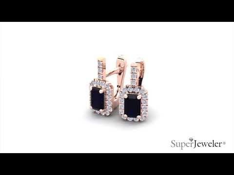 H051749 | Emerald Cut Sapphire and Halo Diamond Dangle Earrings In 14K Rose Gold