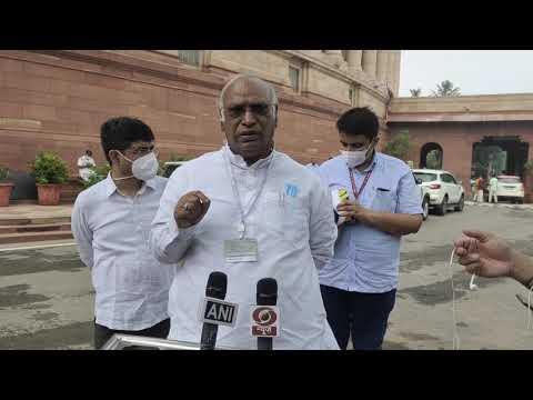 LoP Shri Mallikarjun Kharge addresses media in Parliament House