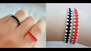 很多女孩子都喜欢这款手链,做成戒指戴手上很漂亮,编法一看就会
