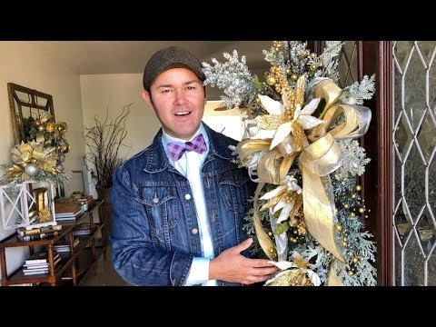 Making A Swag For Christmas With A GLAM Gold Funky Bow / (How To) / Dollar Tree Ribbon DIY