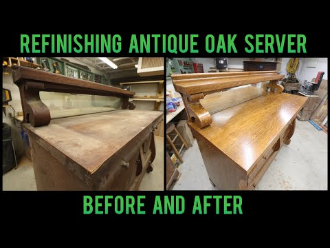 Refinishing Antique Tiger Oak Server | 1.8.20 | Furniture Repair Restoration | How To Woodworking