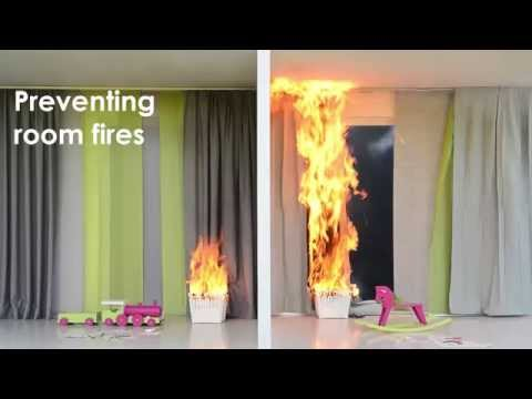 Preventive fire protection with flame retardant textiles