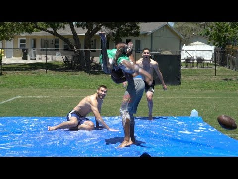 PLAYING 2 ON 2 TACKLE FOOTBALL ON A SLIP AND SLIDE PT. 3