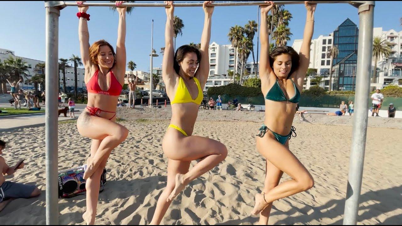 Santa Monica Muscle Beach + Acro Green Vlog ft AlyssaMeiLiu & AngelineCalderone