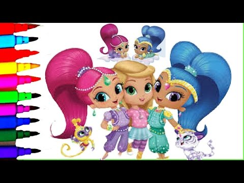 SHIMMER and SHINE Coloring Book Pages Nickelodeon Videos Brilliant Coloring Fun For Kids