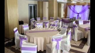 Оформление свадьбы тканью, цветами, воздушными шарами.