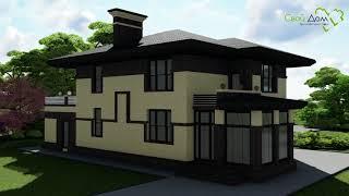 Проект двухэтажного дома Великолепный век E-038 на 3 спальни, с двумя террасами и гаражом
