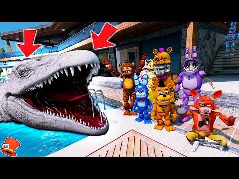 WITHERED FREDDY'S GIANT MOSASAURUS POOL PRANK! JURASSIC WORLD (GTA 5 Mods FNAF Kids RedHatter) thumbnail
