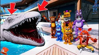 WITHERED FREDDY'S GIANT MOSASAURUS POOL PRANK! JURASSIC WORLD (GTA 5 Mods FNAF Kids RedHatter)