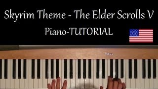 How to play the Skyrim Theme from The Elder Scrolls V on Piano - Tutorial
