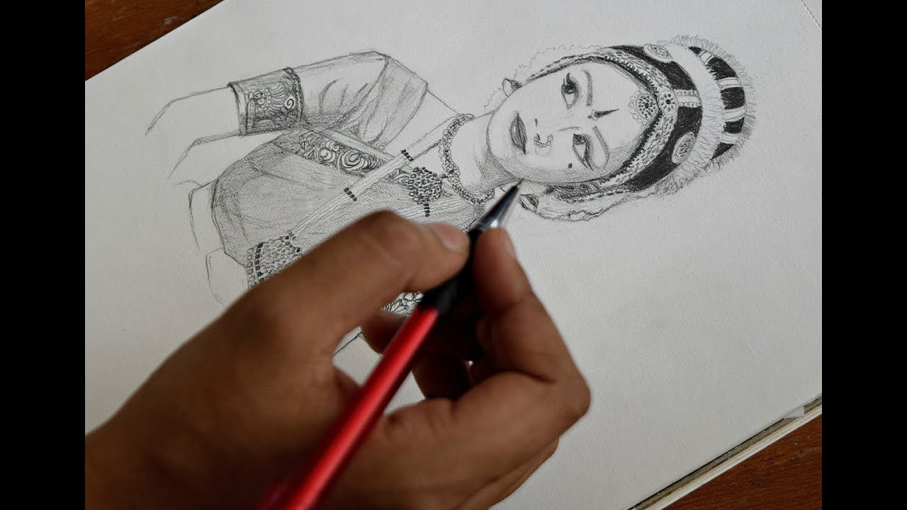 Pencil sketch classical dancer