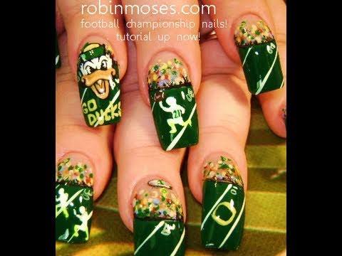 Diy Football Nails Sports Nail Art Design Tutorial Youtube