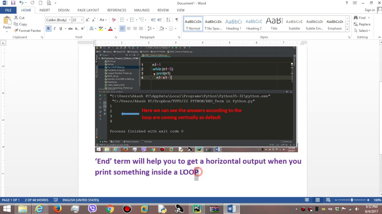 how to use end in python