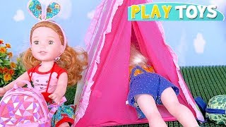 Baby Dolls Packing Toys and Food Picnic Camping Play! 🎀