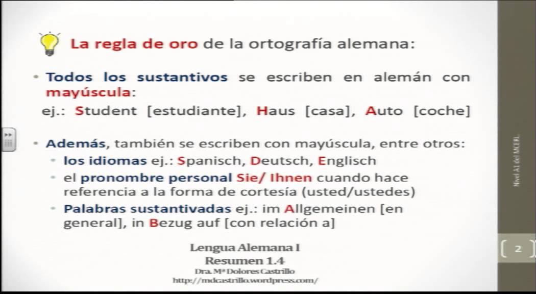 Alemán para hispanohablantes: Ortografía básica del alemán