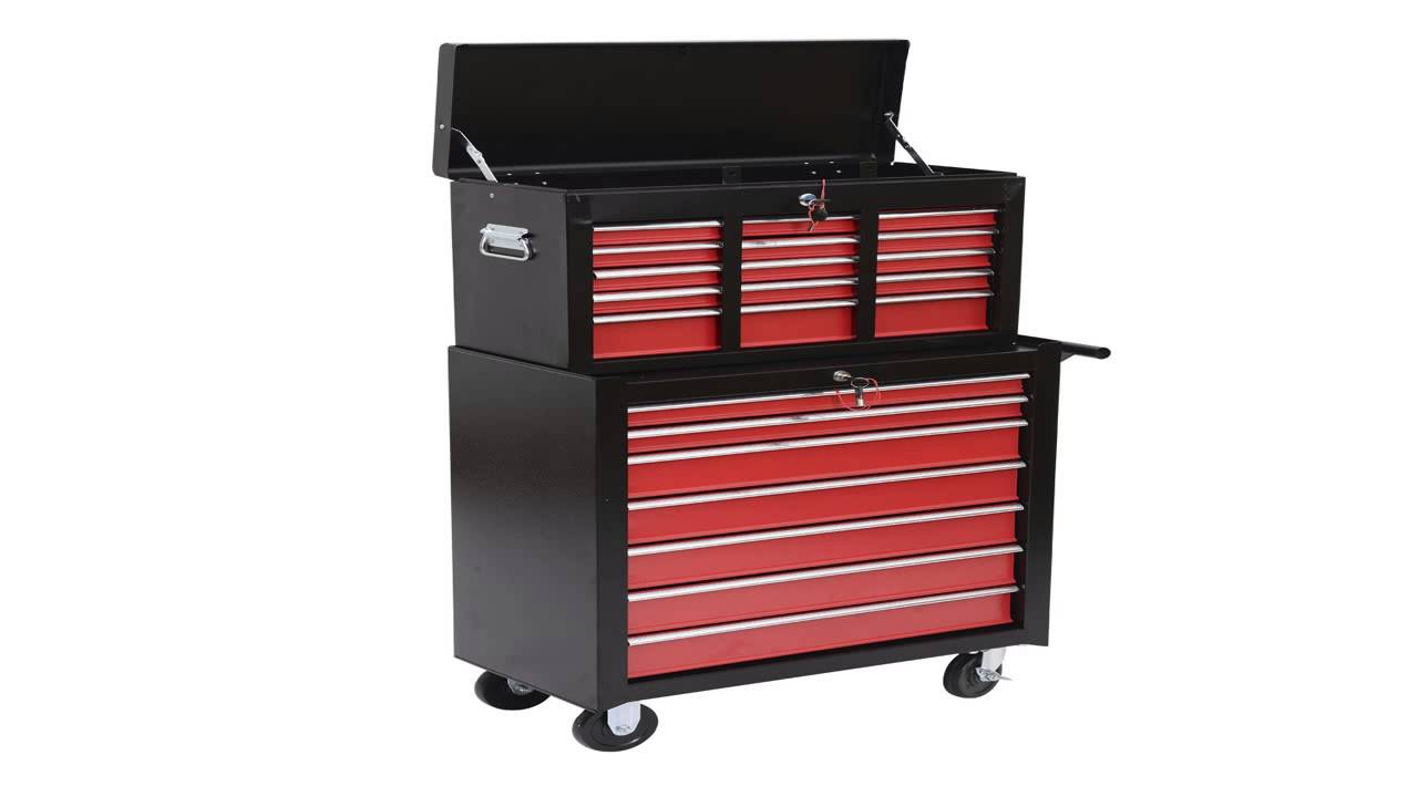 homcom rolling tool cabinet chest with 5 drawers and removable tool box red