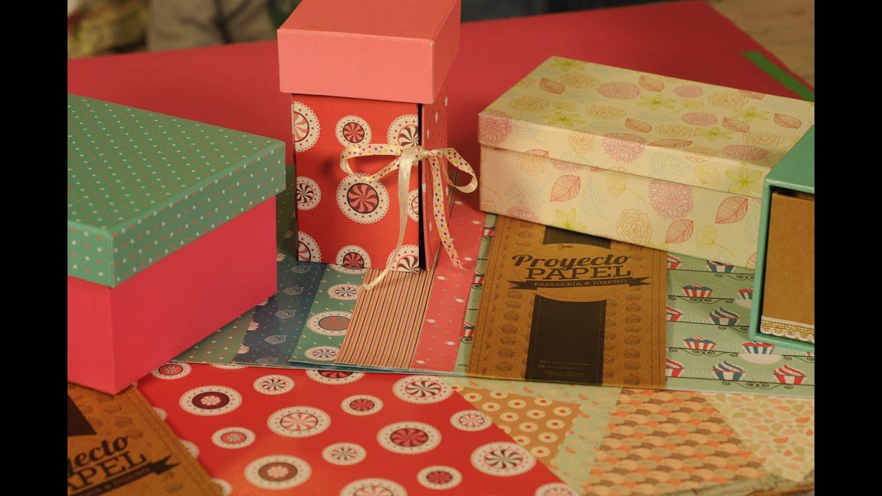 Como forrar una caja con papel trazado de caja - Forrar cajas de carton con telas ...
