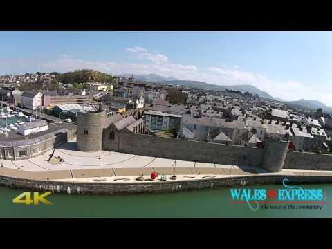 DJI phantom 2 vision plus flying around Caernarfon Castle - 4K Ultra Video HD
