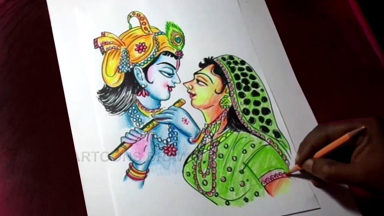 How To Draw Lord Radha Krishna Drawing Youtube