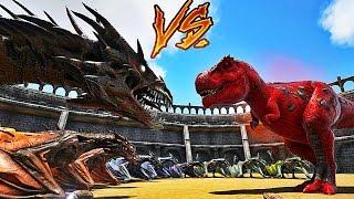 10 ZOMBIES WYVERNS VS ALPHA REX ! | ARK: Survival Evolved !