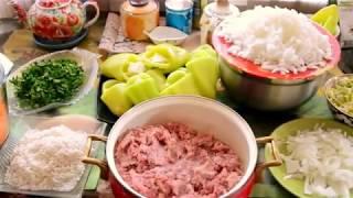 Рецепт:Болгарский перец фаршированный овощами с рисом и мясом.