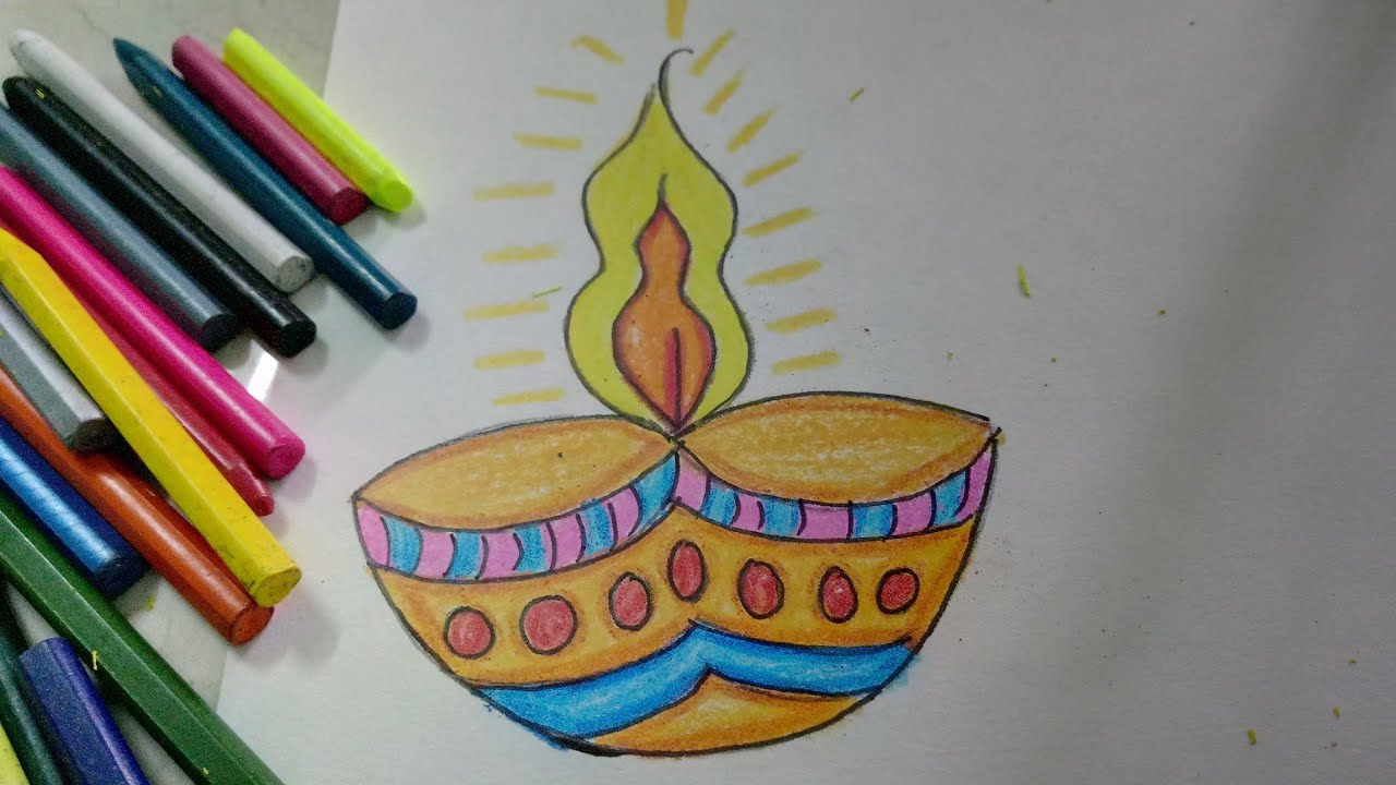 Diwali Diya Pencil Sketch