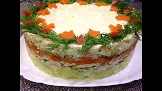 "Салат на стол 2019 ""Новогодний венок"" Альтернатива оливье.Быстро и вкусно /Salad New Year's Wreath"