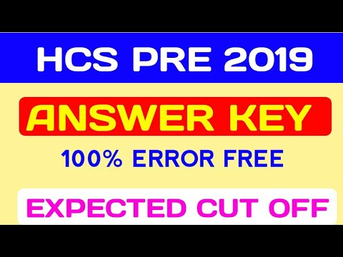 HCS Answer key 2019 and cut off Exam held on 31 march 2019