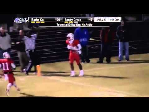 #13 QB Cole Garvin passes to #8 WR Demarre Kitt for the 75yr TD putting Sandy Creek up 24-20 in the