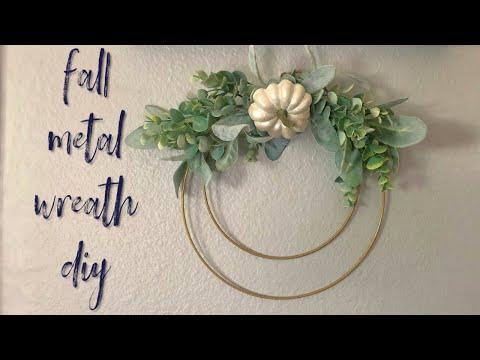 Simple Fall Metal Hoop Wreath    Fall DIY