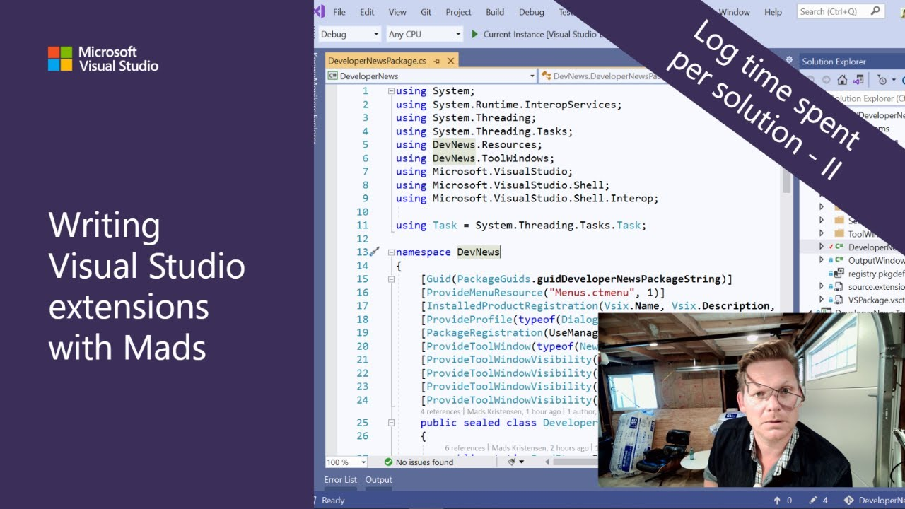 Writing Visual Studio Extensions with Mads - Log Time Spent Per Solution: Part 2