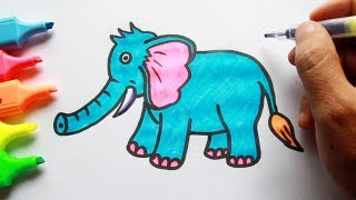 How to draw an Elephant Coloring for kids