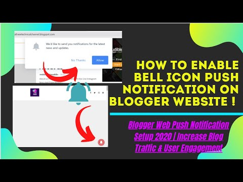 How to enable bell icon push notification on blogger website