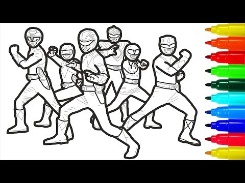 Mighty Morphin Power Rangers Coloring | Colouring Pages for Kids with Colored Markers