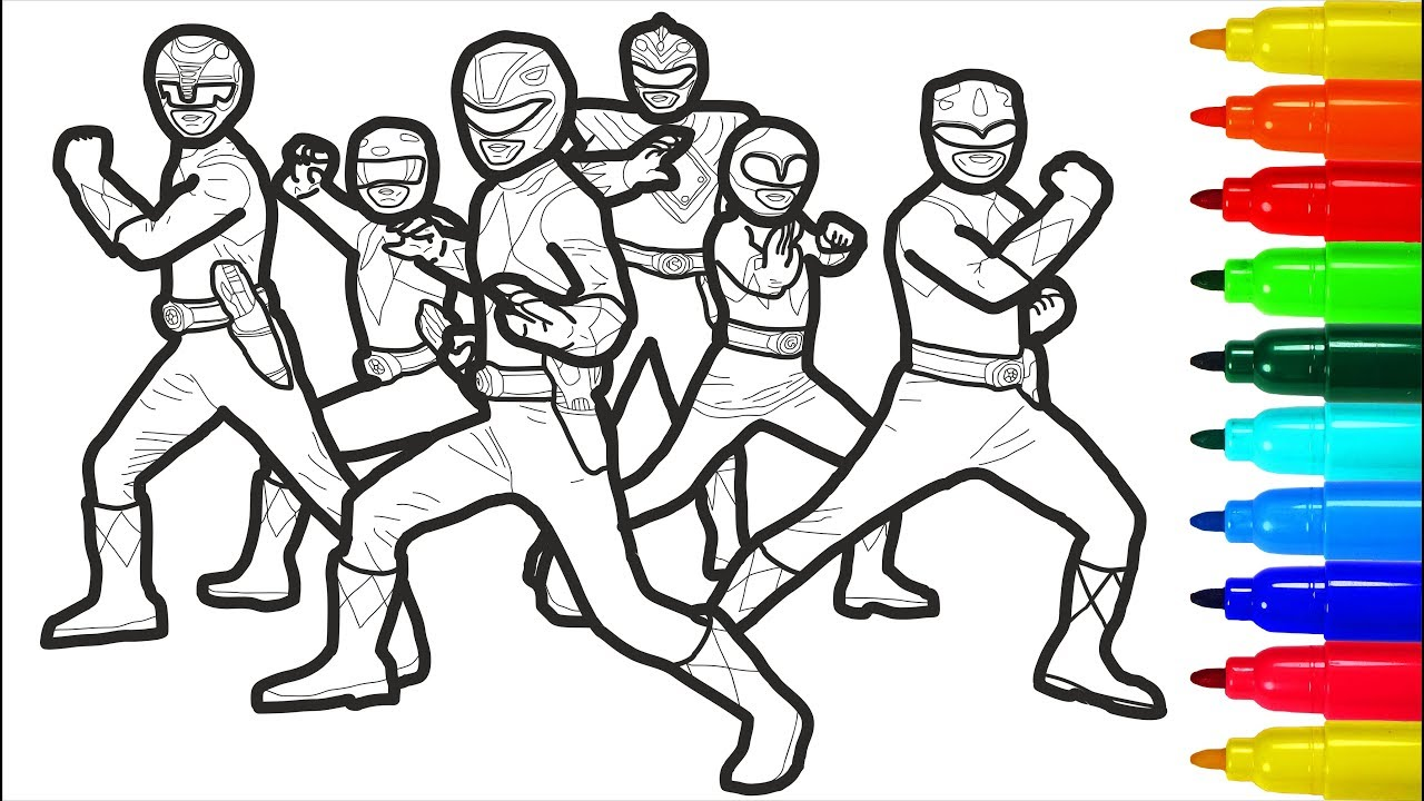 Mighty Morphin Power Rangers Coloring Colouring Pages For Kids With Colored Markers