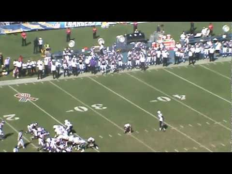 San Diego Chargers Punter Mike Scifres 1st NFL Career Field Goal