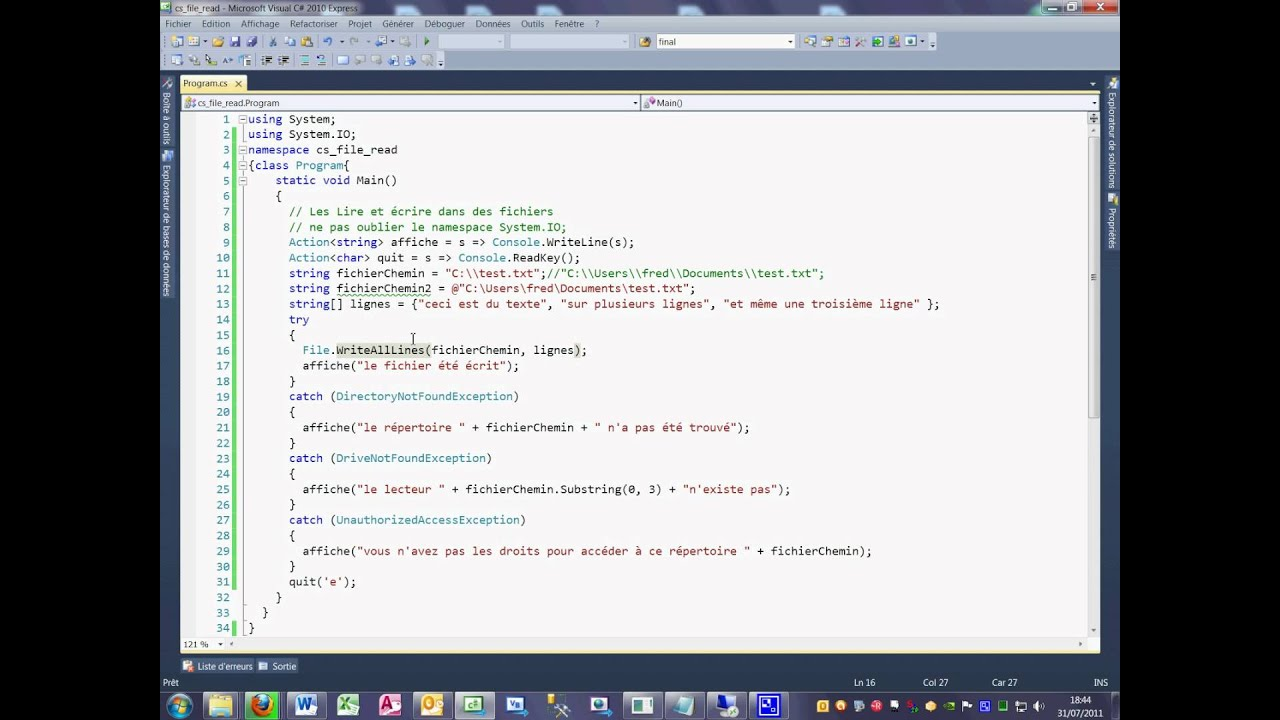 Tutoriel 34 Read et Write en C# en français première partie